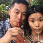 at the luau drinking mai tais