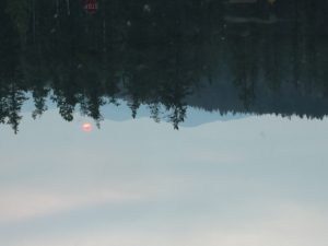 The morning of the hike. Red sun